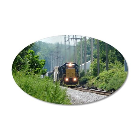 Freight Train on single trac 35x21 Oval Wall Decal