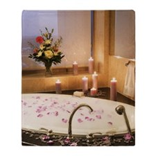 Bubble bath with candles and flower  Throw Blanket