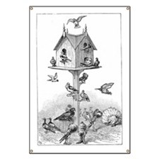 Pigeons and birdhouse Banner