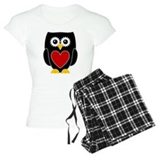 Black Owl With Red Heart Pajamas