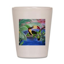 toucan in the rainforest Shot Glass