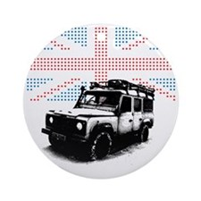 Union Jack Land Rover Defender Round Ornament