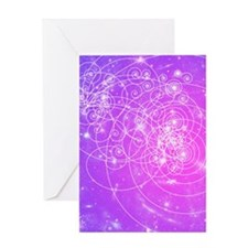 Particle tracks on galaxies Greeting Card