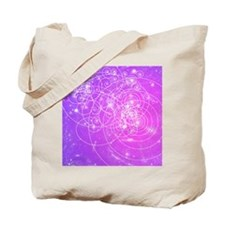 Particle tracks on galaxies Tote Bag