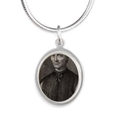 Niccolo Machiavelli, Italian  Silver Oval Necklace