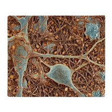 Nerve cells and glial cells, SEM Throw Blanket