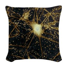 Motor neurons, light micrograp Woven Throw Pillow