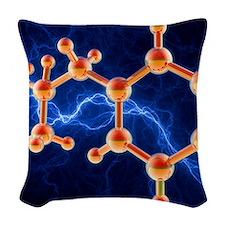 Methamphetamine drug molecule Woven Throw Pillow
