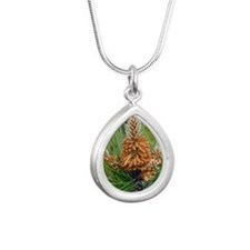 Maritime pine flowers (P Silver Teardrop Necklace