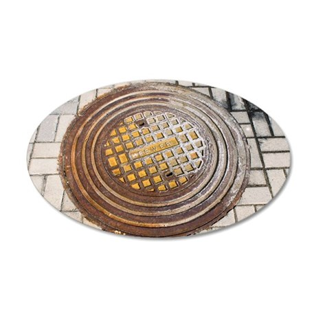 Manhole cover 35x21 Oval Wall Decal