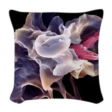 Macrophage engulfing TB bacter Woven Throw Pillow