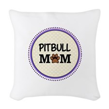 Pitbull Dog Mom Woven Throw Pillow