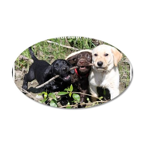 Eromit- Lab puppies 35x21 Oval Wall Decal
