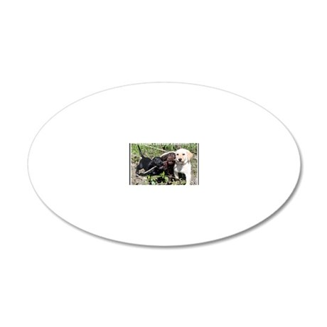 Eromit- Lab puppies 20x12 Oval Wall Decal