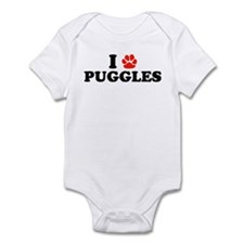 I Heart (Pawprint) Puggles Infant Bodysuit