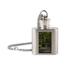 Trees along a road, Puerto Rico Flask Necklace