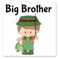 "Big Brother Fishing Square Car Magnet 3"" x 3"""