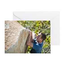 A climber traverses with his hands a Greeting Card