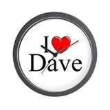 """I Love (Heart) Dave"" Wall Clock"
