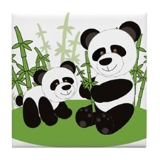Panda Bamboo Family Tile Coaster