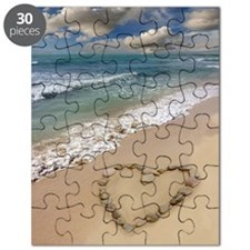 Heart-shape on a beach Puzzle