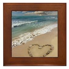 Heart-shape on a beach Framed Tile