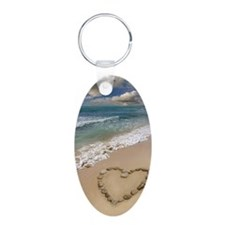 Heart-shape on a beach Keychains