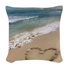 Heart-shape on a beach Woven Throw Pillow