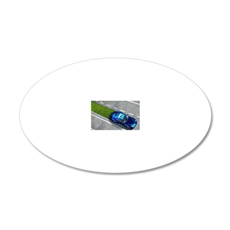 Green car, conceptual image 20x12 Oval Wall Decal