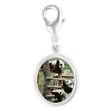 Giant panda, China Silver Oval Charm