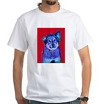 Blue Dog Art on Red T-Shirt