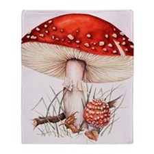 Fly agaric mushrooms Throw Blanket