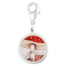 Fly agaric mushrooms Silver Round Charm