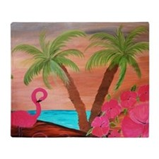 Flamingo in paradise Throw Blanket