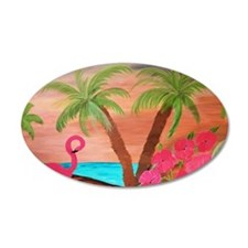 Flamingo in paradise Wall Decal