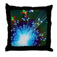 Explosion of Sarin nerve gas molecule Throw Pillow