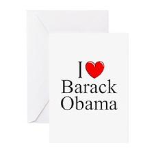 """I Love (Heart) Barack Obama"" Greeting Cards (Pk o"