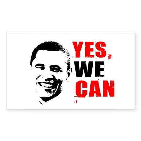 Obama Yes, We Can Rectangle Sticker