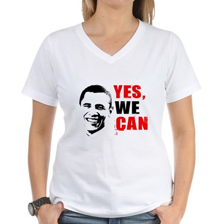 Obama Yes, We Can Womens V-Neck T-Shirt