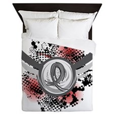 D Brain Cancer Grey Ribbon And Wings Queen Duvet