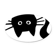 Black Cat Upside Down Oval Car Magnet