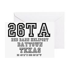 TEXAS - AIRPORT CODES - 26TA - RED B Greeting Card