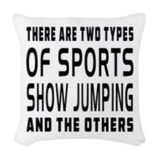 Show Jumping Designs Woven Throw Pillow