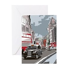 Taxi on London street Greeting Card