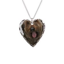 Portrait of Briard dog Necklace Heart Charm