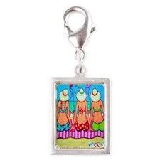 Kite Flying 101 Flip Flops Silver Portrait Charm