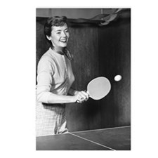Woman playing table tenni Postcards (Package of 8)