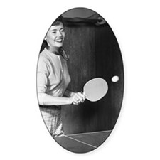 Woman playing table tennis Decal
