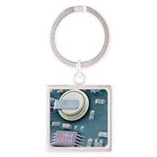 Circuit board battery, SEM Square Keychain