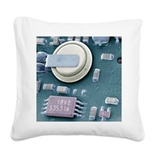 Circuit board battery, SEM Square Canvas Pillow